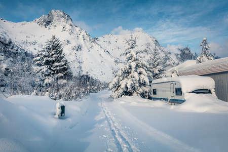 Wonderful winter view of Lofoten Island. Spectacular morning scene of Norway, Europe. Snowy landscape of mountain village. Traveling concept background. Life over polar circle. Reklamní fotografie