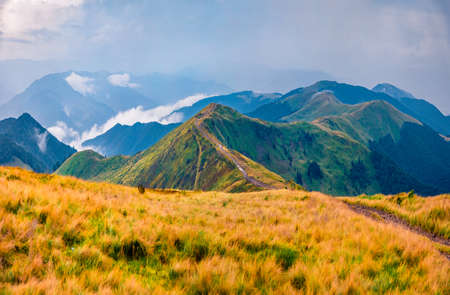 Mountain hills after the rain. Dramatic summer scene of Krasna range with old country road. Beautiful morning view of foggy Carpathian mountains, Ukraine, Europe. 免版税图像