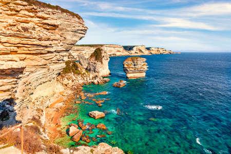 Superb morning scene of famous Bonifacio clifs - Le Grain de sable. Spectacular summer view of Corsica island, France, Europe. Brigth Mediterranean seascape. Traveling concept background.