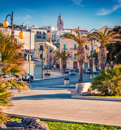 Impressive morning view of central park of Vieste town. Romantic summer scene of Apulia, Italy, Europe. Traveling concept background.