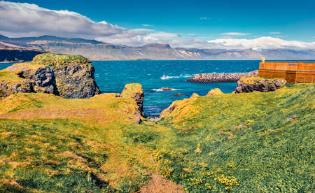 Tourist takes picture of small fishing village Arnarstapi or Stapi. Incredible morning scene of Icelandic countryside. Traveling concept background.