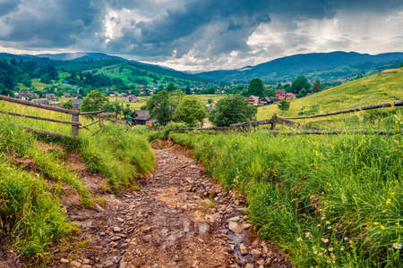 Captivating summer scene of Yasinya village with old country road, Ukraine, Europe. Fresh green view of Carpathians. Picturesque morning scene of contryside. Traveling concept background.