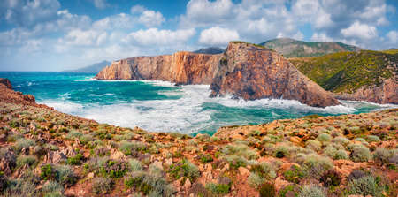 Astonishing morning scene of Cala Lunga. Attractive summer view of Sardinia, Italy, Europe. Majestic landscape of Canyon di Cala Domestica. Beauty of nature concept background.