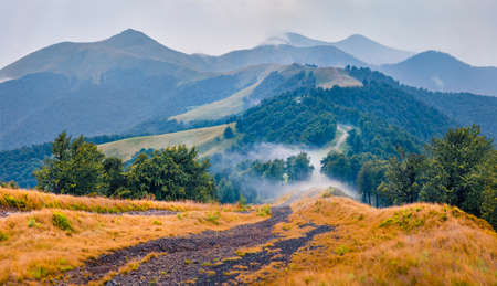 Mountain hills after the rain. Misty summer scene of Krasna range with old country road. Splendid morning view of foggy Carpathian mountains, Ukraine, Europe. Traveling concept background.