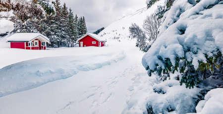 Traditional Norwegian red wooden houses under the fresh snow. Bright winter scene of Lofoten islands on the shore of Kongsjordpollen fjord, Vestvagoy, Norway, Europe. Life over polar circle.