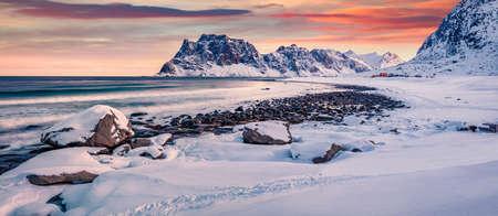 Panoramic morning view of Haukland Beach, Vastvagoy. Colorful sunrise on Lofoten Island, Norway, Europe. Amazing seascape of Norwegian sea. Life over polar circle. Reklamní fotografie