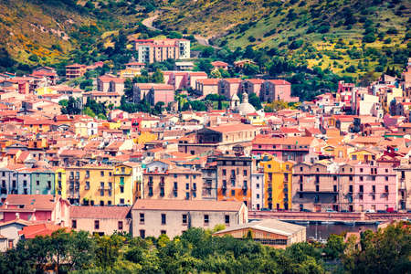 Bright morning cityscape of Bosa town, Province of Oristano, Italy, Europe. Stunning summer scene of Sardinia. Traveling concept background.