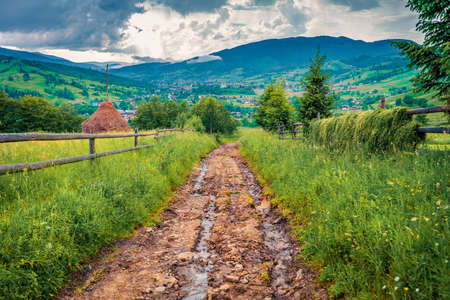 Clogdy summer evening on Yasinya village with old country road, Ukraine, Europe. Haymaking in Carpathians. Beautiful morning scene of contryside. Traveling concept background.