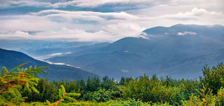 Cloudy summer scene of Carpathian mountains, Ukraine, Europe. Huge fog spreads on the mountan valley. Beauty of nature concept background.