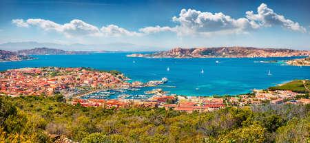 Panoramic summer cityscape of Palau port, Province of Olbia-Tempio, Italy, Europe. Adorable morning scene of Sardinia island. Bright mediterranean seascape. Traveling concept background.