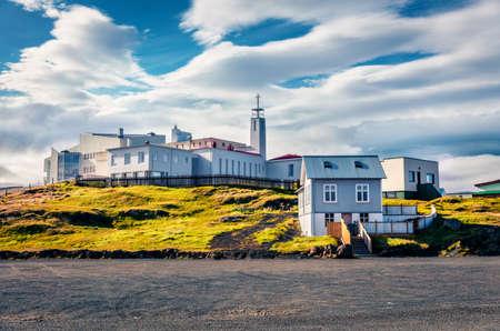 Splendid summer cityscape of Stykkisholmur town. Bright morning scene of west Iceland, Europe. Traveling concept background.