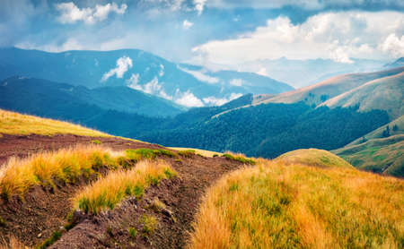 Amazing summer scene of Svydovets mountain range with old country road. Stunning morning view of misty Carpathian mountains, Ukraine, Europe. Traveling concept background.