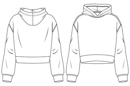 Women Hooded Crop Top fashion flat sketch template. Technical Fashion Illustration. Sweatshirt CAD