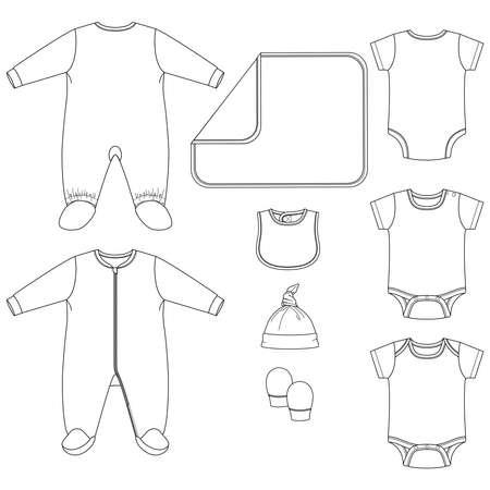 Set of Vector Baby clothing Elements. Baby Layette sleeper bodysuit fashion flat sketch template. Technical Fashion Illustration. One piece pyjama Hat blanket mitts Bib