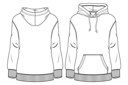 Women Fleece Top fashion flat sketch template. Technical Fashion Illustration. Sweatshirt CAD Ilustración de vector