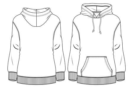 Women Fleece Top fashion flat sketch template. Technical Fashion Illustration. Sweatshirt CAD