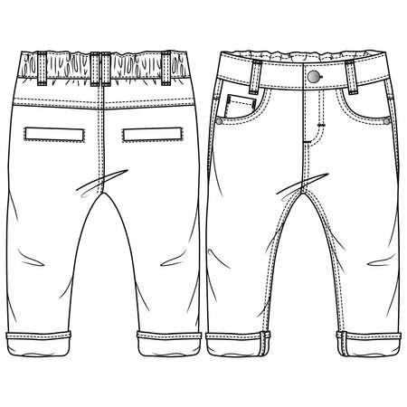 Baby Boys Woven Pant fashion flat sketch template. Technical Fashion Illustration. Rolled up Hem. Back Welt Pockets