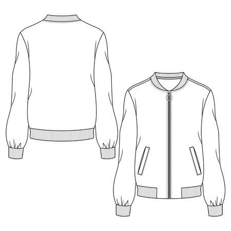 Women Bomber Jacket fashion flat sketch template. Technical Fashion Illustration. Welt Pockets Illustration
