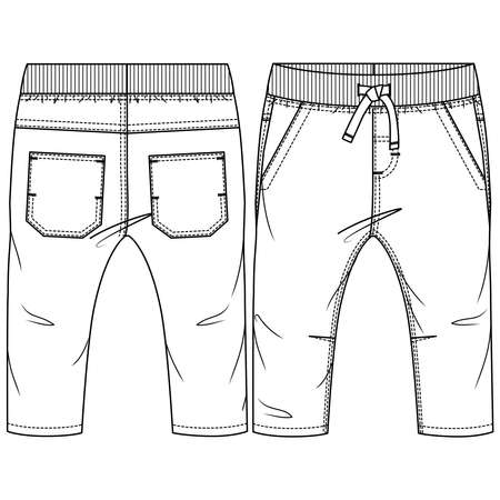 Baby Boys Pant fashion flat sketch template. Technical Fashion Illustration. Woven CAD. Rib waistband with fake drawcord