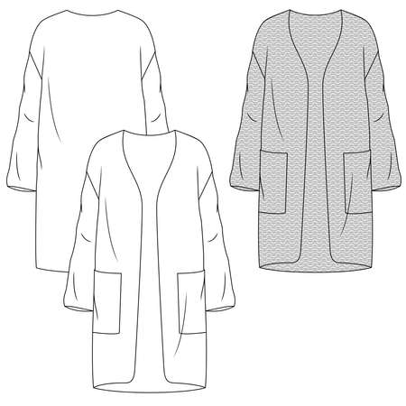 Women Heavy Knit Long Cardigan fashion flat sketch template. Technical Fashion Illustration. Open Front with Large Pockets