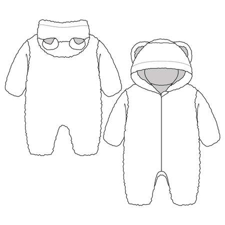 Baby Girls or Boys Berber Hooded One piece overall fashion flat sketch template. Unisex Technical Fashion Illustration. Faux Rabbit. Zipper front opening. Bear ears