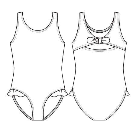 Cute toddler Girls Swimsuit fashion flat sketch template. Swimwear Technical Fashion Illustration. One piece with Frills at leg opening Vetores