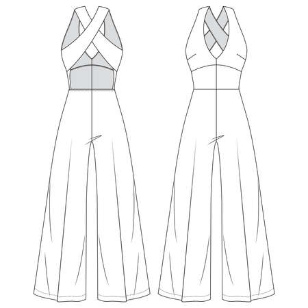 Women Open back Jumpsuit Vector Fashion Flat Sketches. Girls Fashion Technical Illustration Template. Flare Wide legs. Low V-Neck. Halter top Look