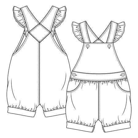 Baby Girls dungaree fashion flat sketch template. Kids Jumpsuit Overall Technical Fashion Illustration. Frill detail at straps