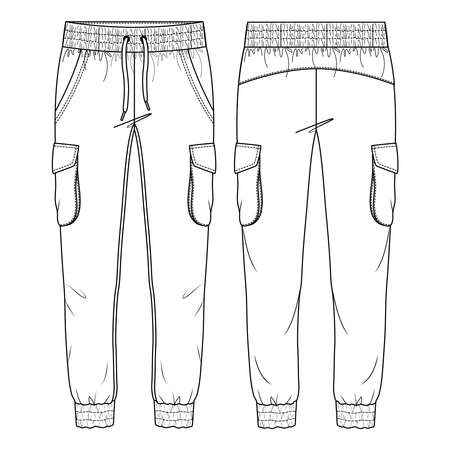 Women Cargo Pockets Jogger Pant Vector Fashion Flat Sketches. Fashion Technical Illustration Template. Drawcord detail. Multiple Stitch detail on cuffs and waistband Vetores