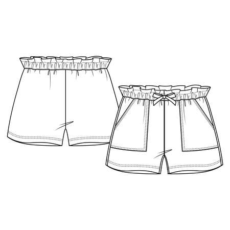 Girls Short fashion flat sketch template. Technical Fashion Illustration. Paperbag elastic waist. Front Bow and Apply Pocket Vecteurs