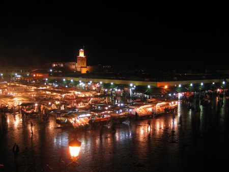 A night time shot of Marrakechs famous Djemaa el Fna.  Stock Photo