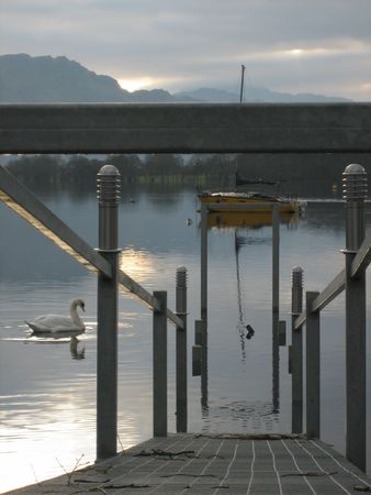 A swan on the gleaming waters of Loch Lomond, Scotland, with a partially-submerged metal walkway  photo