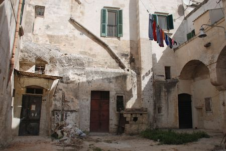 unkempt: Houses in the Caveoso Sassi in the Italian town of Matera in the region of Basilicata.