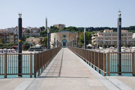 southern europe: The pier at the southern Italian resort of Frankaville Delle Mare in Abruzzo