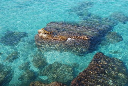 southern europe: A beautiful stretch of rocky coastline with clear blue waters in Puglia, southern Italy
