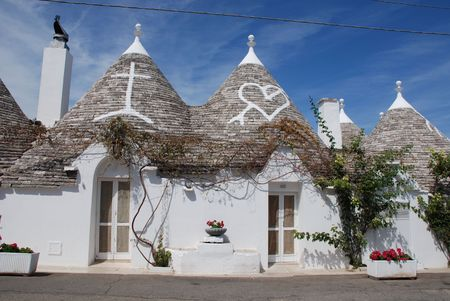 The roofs of trulli in Alberobello, southern Italy Stock fotó