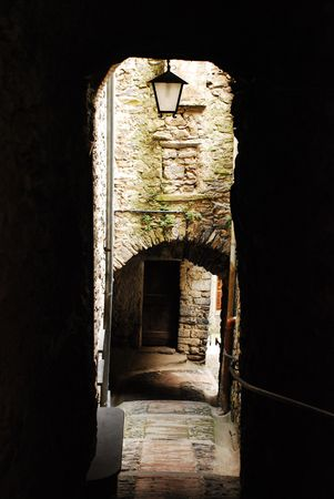 A backstreet in historic medieval Triora, Liguria