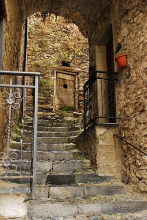 archways: A backstreet in historic medieval Triora, Liguria � a town historically associated with witches  Stock Photo