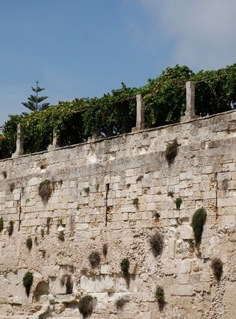 imposing: A moat wall of the imposing castle in the southern Italian city of Otranto
