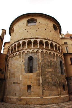 rotund: An historic round brick building in Albenga, Italy  Stock Photo