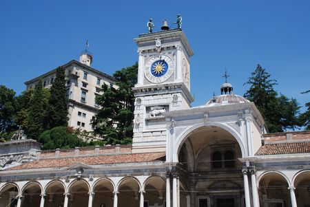 The 16th century Loggia di San Giovanni in Udine, Italy. This Renaissance building in Piazza della Liberta was designed by Bernardo Da Morcote