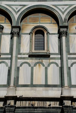duomo of florence: A close-up shot of the side of the famous Duomo in Florence, Tuscany, Italy