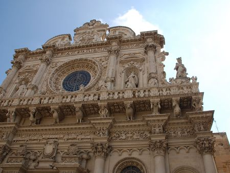 The 17th century baroque Basilica di Santa Croce in the southern Italian city of Lecce
