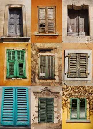 tatty: A collage of nine old Italian windows Italy