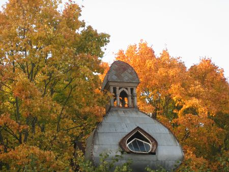 jurmala: An old building in Jurmala, Latvia, surrounded by orange autumnal leaves