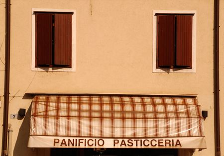 A small panificio/pasticceria (bakery/pasty shop) in Friuli, Italy  Standard-Bild