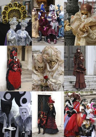 Venice Carnival-goers dressed up and posing for photographs