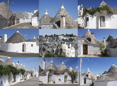 A collage of nine photographs of the traditional trulli houses Alberobello in Puglia, southern Italy. This area is a protected UNESCO World Heritage Site.