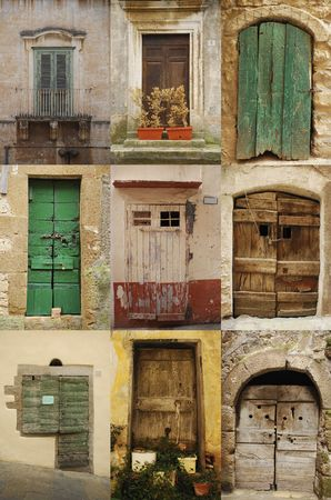 A collage of nine old wooden Italian doors Stock Photo - 4259760