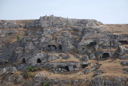 inhabited: Once inhabited caves outside the Italian town of Matera  Stock Photo